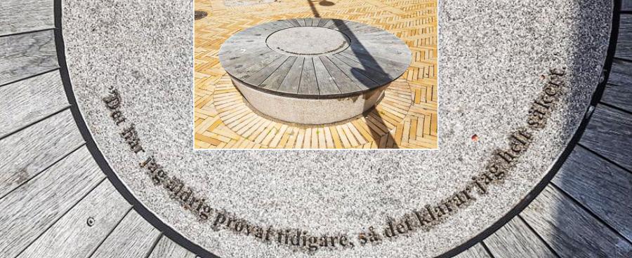 Granitbænk med Pippi-citat i Helsingborg / foto: Alex Bergdahl